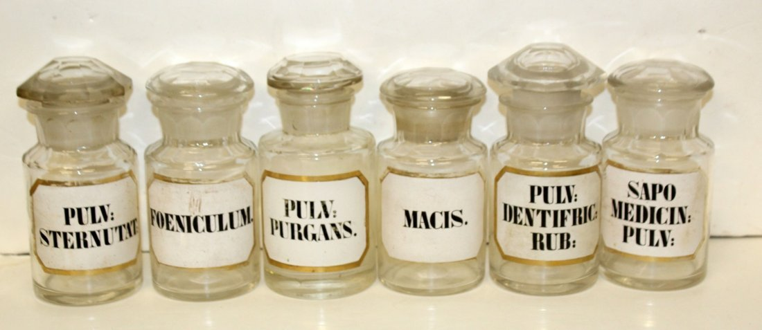 Lot of 9 glass apothecary bottles - 2