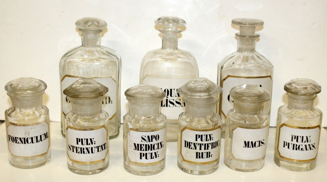 Lot of 9 glass apothecary bottles - 3