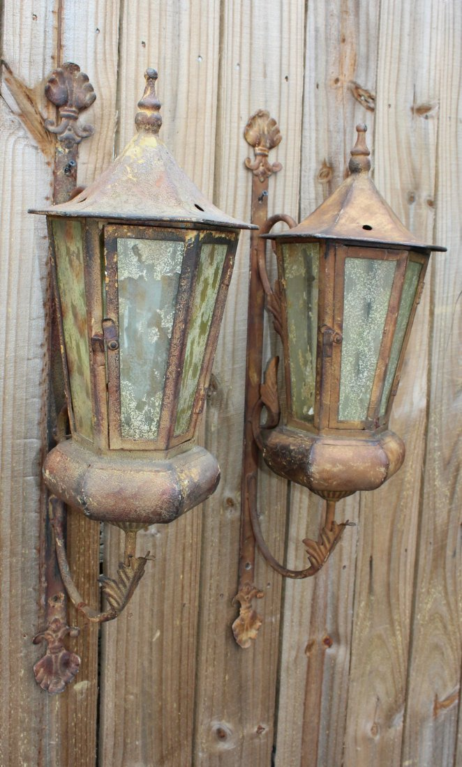 Pair distressed wall lanterns - 2