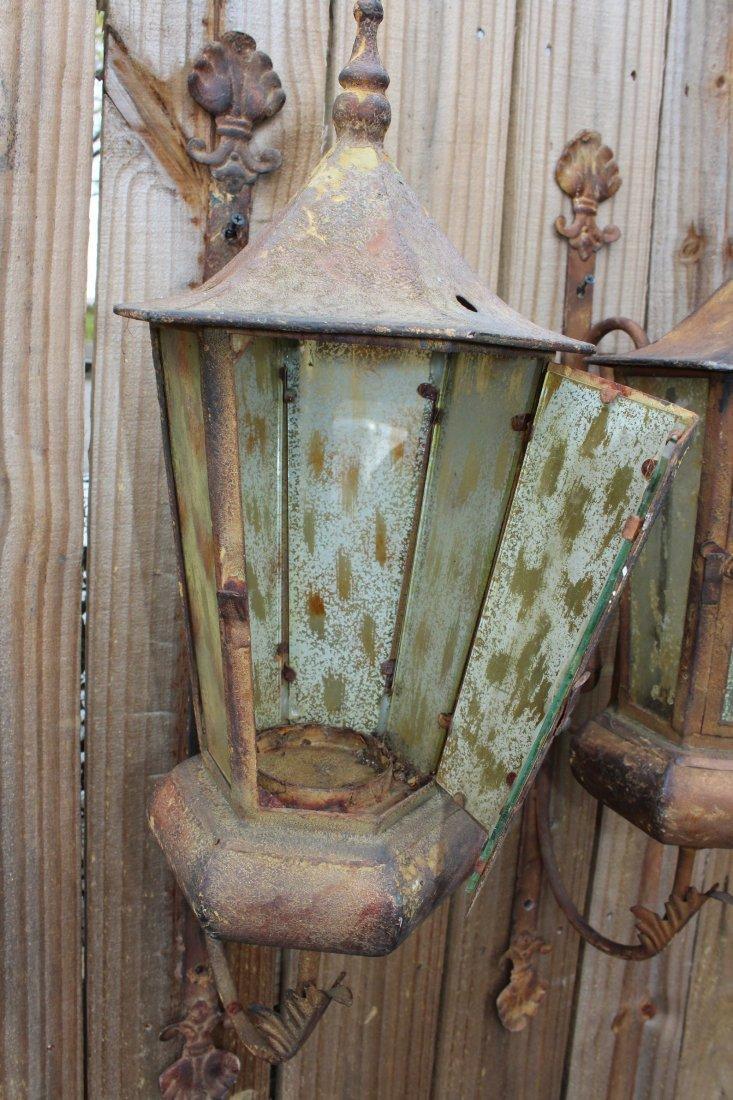 Pair distressed wall lanterns - 3