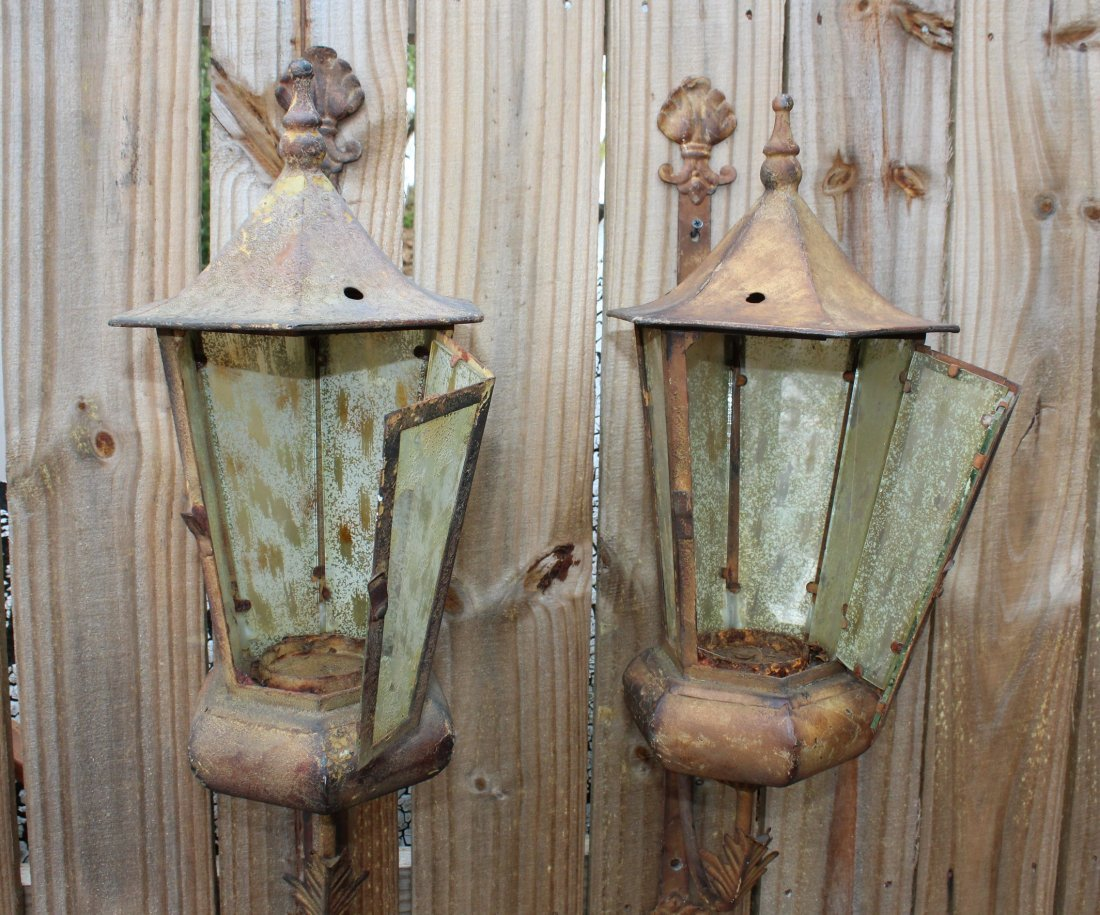 Pair distressed wall lanterns - 4