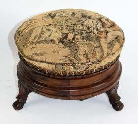 English Victorian footstool with tapestry