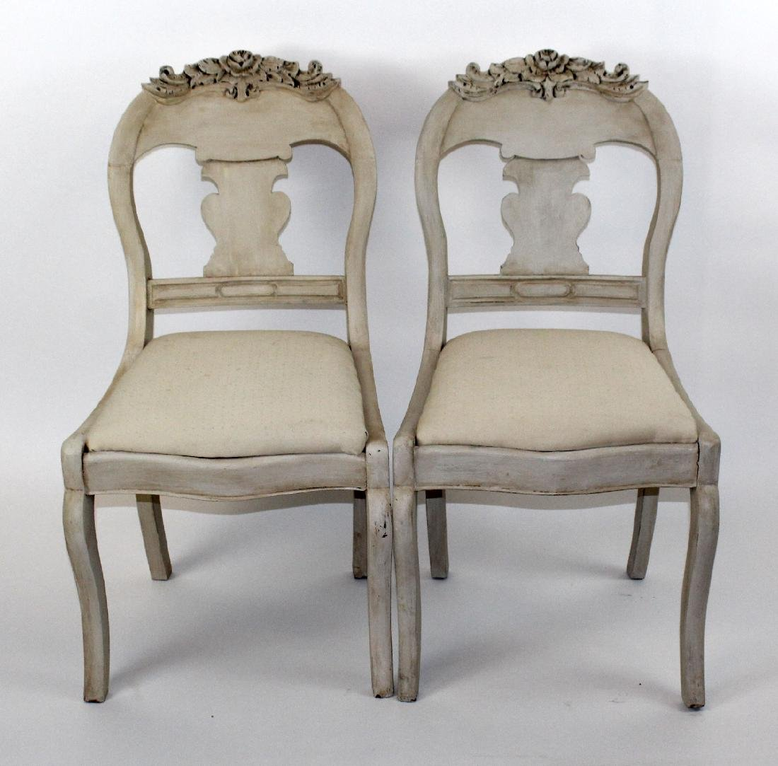 Pair of painted splat back side chairs