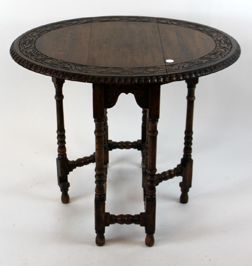 English oak gateleg dropside table - 3