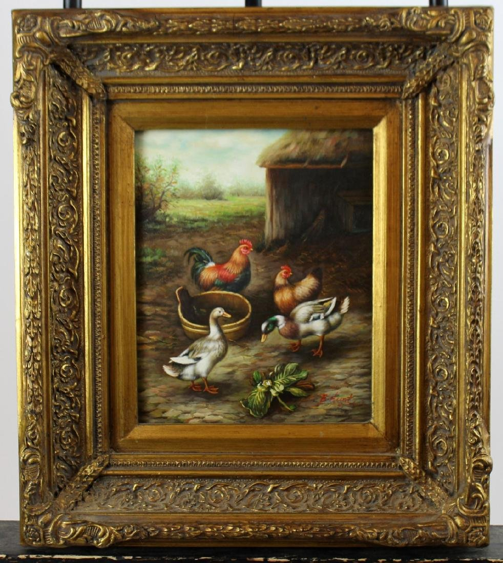 Oil on board Barnyard scene