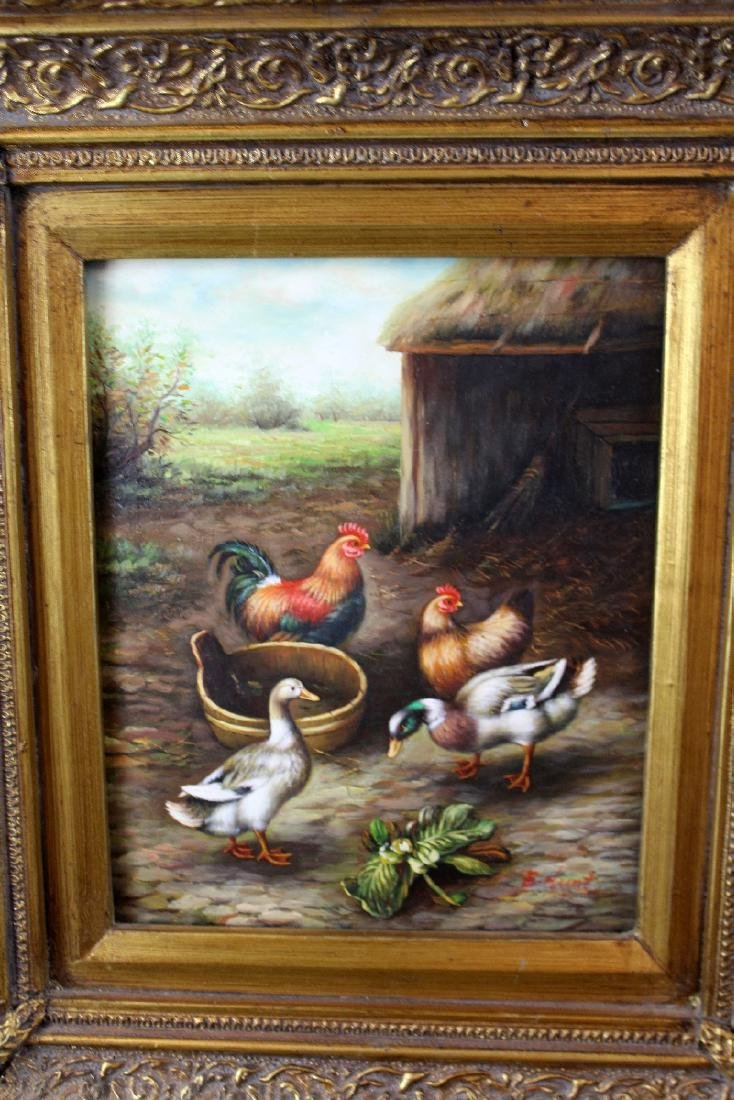 Oil on board Barnyard scene - 3