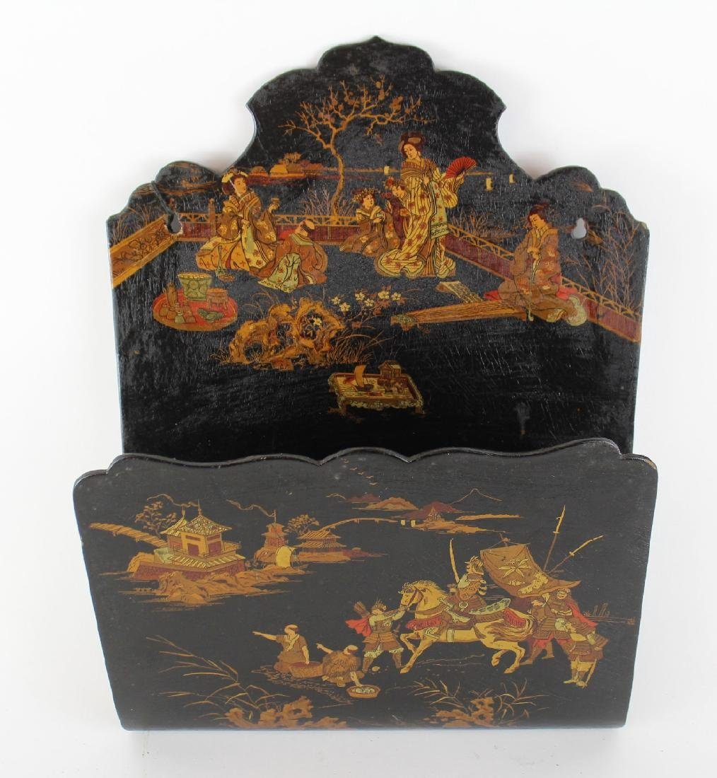 Antique VIctorian Chinoiserie wall pocket