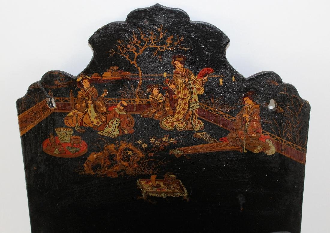 Antique VIctorian Chinoiserie wall pocket - 5