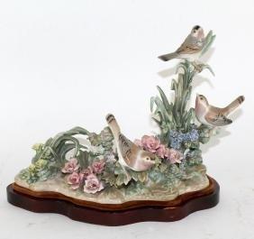 Lladro porcelain Birds & Flowers figurine on base
