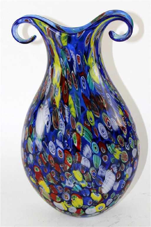 Vintage Murano Glass Blue Millefiori Vase