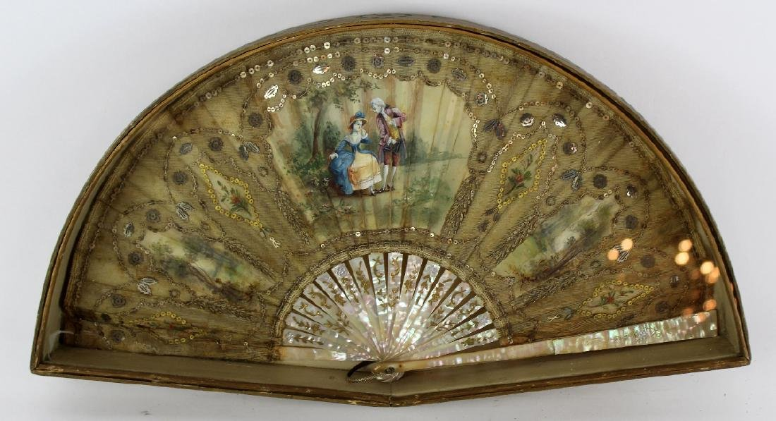Victorian fan with mother of pearl handle