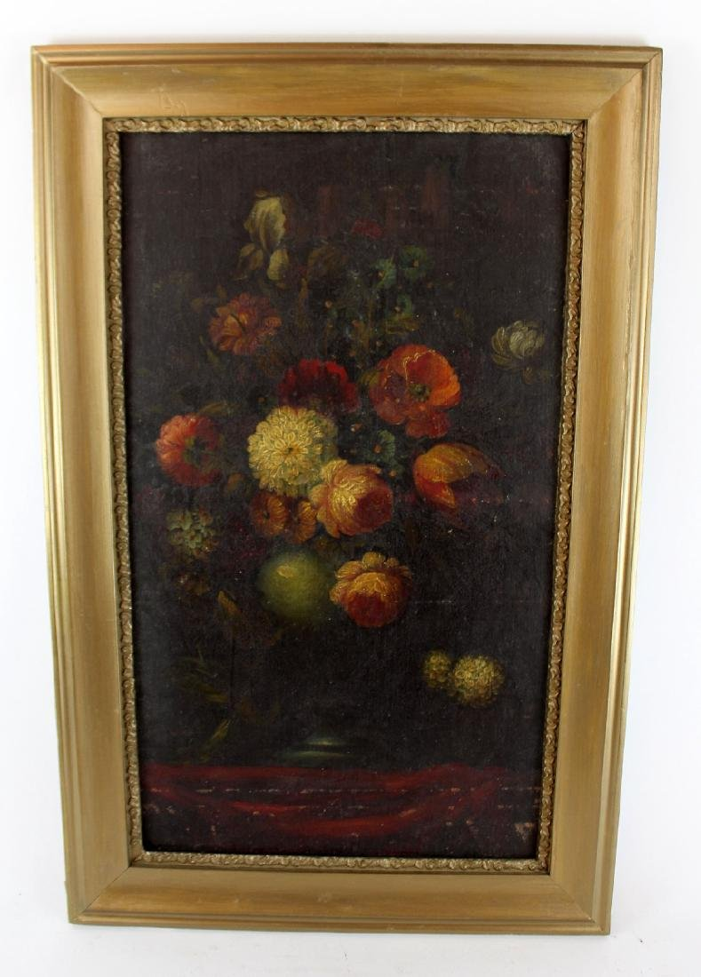 Oil on canvas stillife with flowers - 4