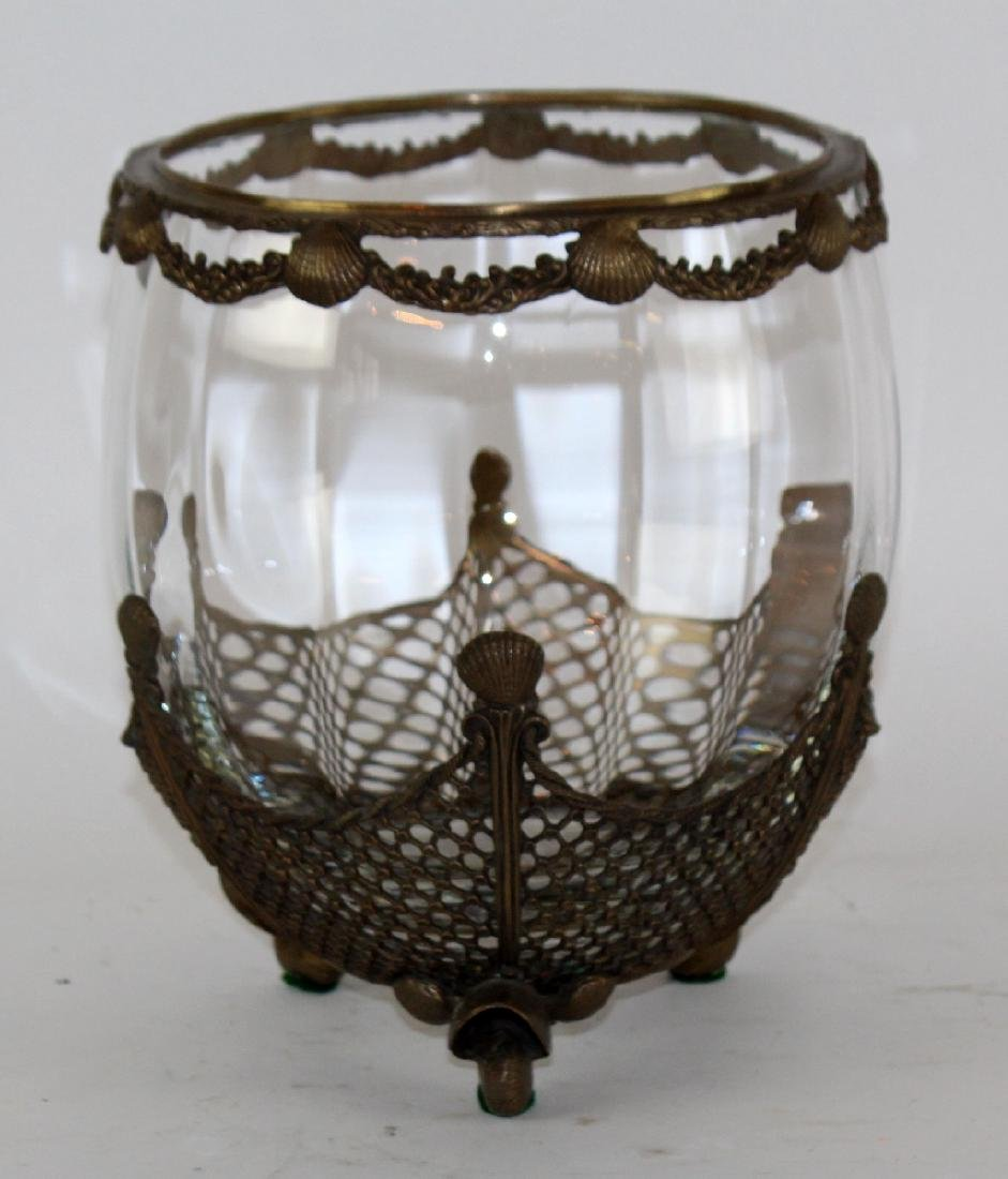 Glass bowl with bronze overlay and scallop shells
