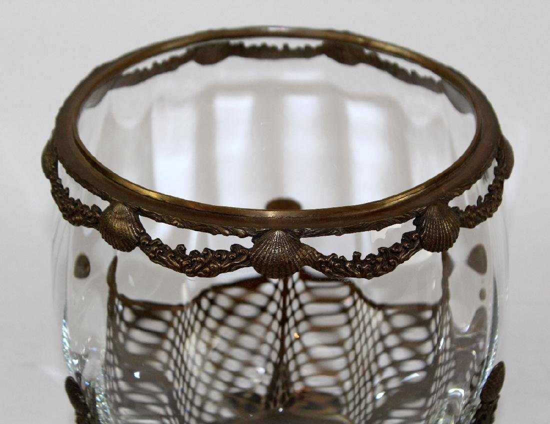 Glass bowl with bronze overlay and scallop shells - 2