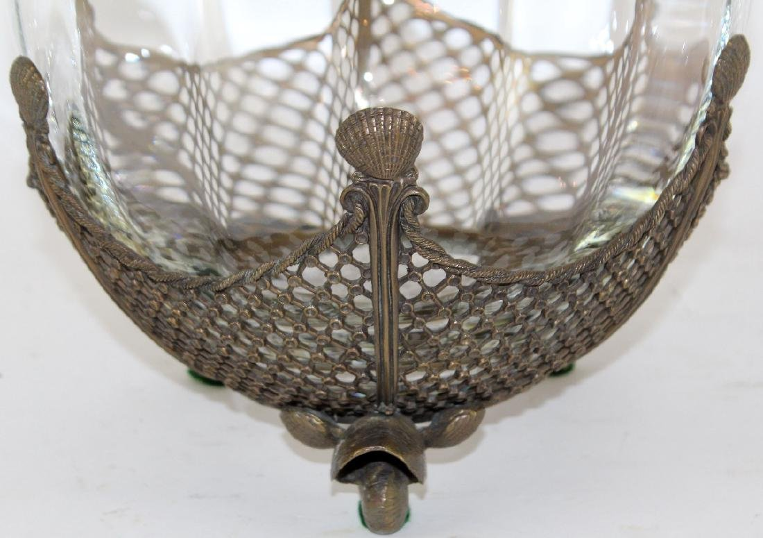 Glass bowl with bronze overlay and scallop shells - 3