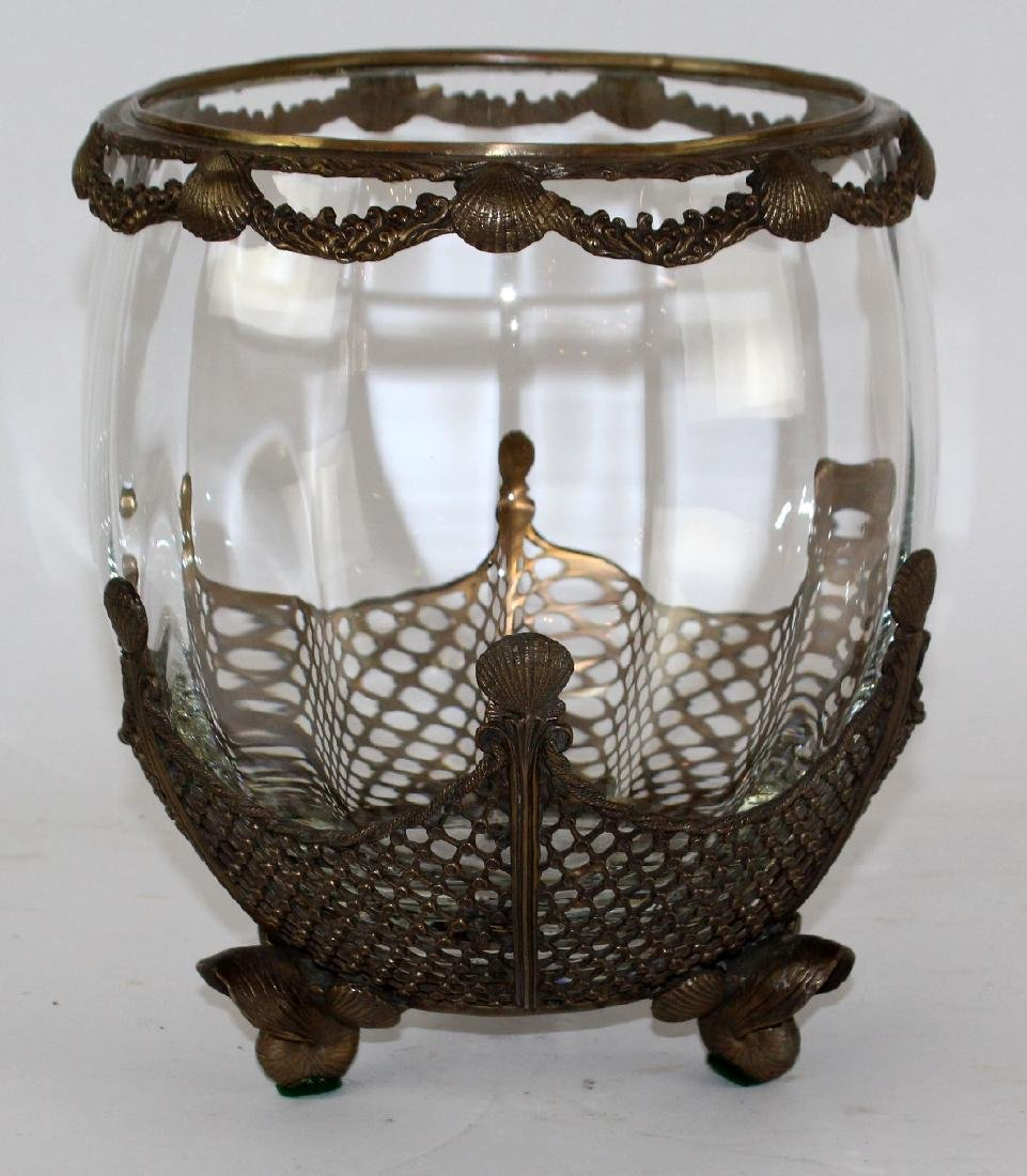Glass bowl with bronze overlay and scallop shells - 5