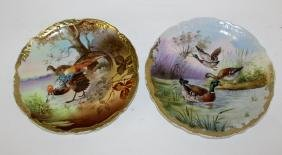 Pair hand painted porcelain plates with birds