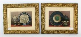 Chromolithograph stillifes in gilt frames