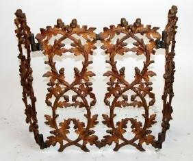 3 panel iron firescreen with  oak leaf & acorn motif
