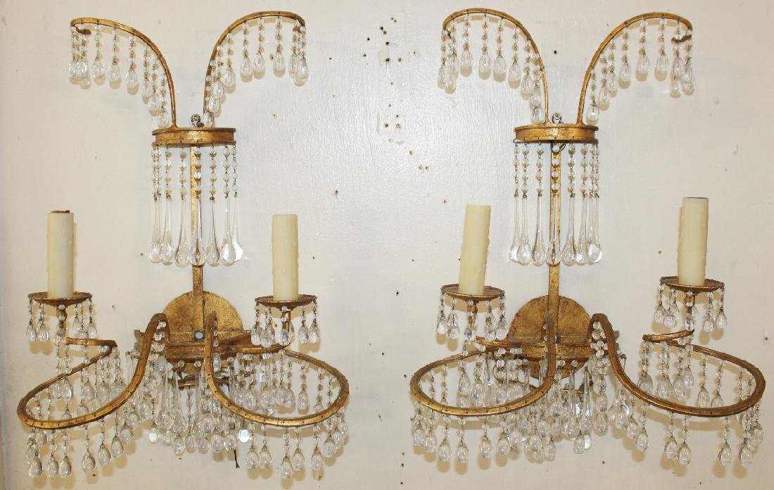 Pair of Venetian beaded wall sconces