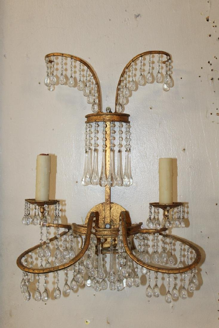 Pair of Venetian beaded wall sconces - 3