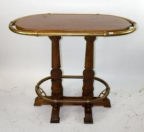 Nautical bar table with brass railing