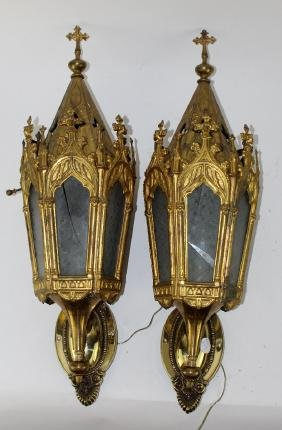 Pair of Gothic wall mount sconces in brass