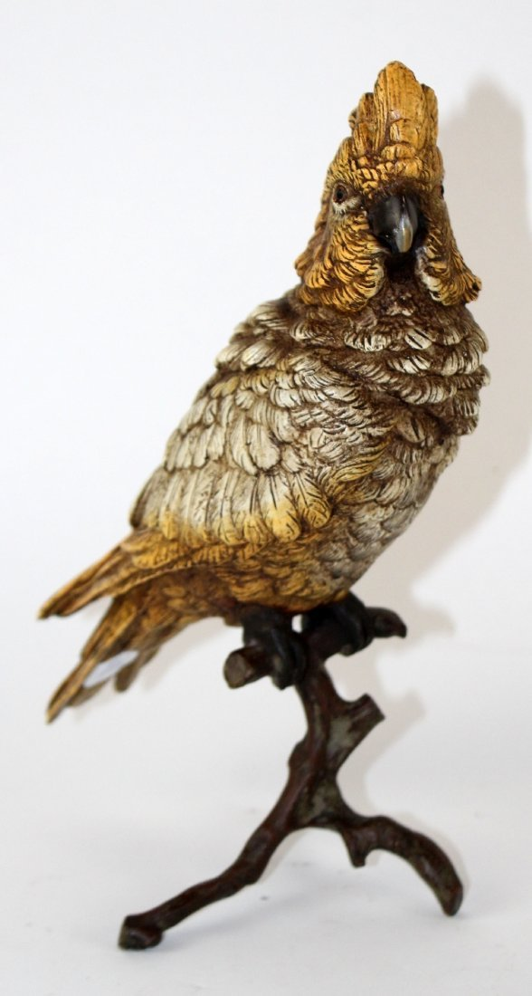 Cold painted bronze Cockatoo sculpture