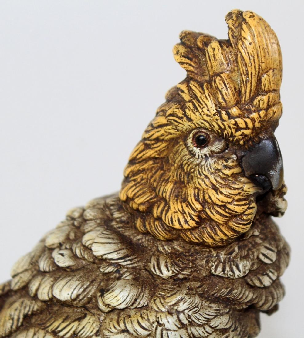 Cold painted bronze Cockatoo sculpture - 4