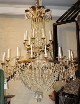Grand scale Italian 2 tier crystal 27-light chandelier