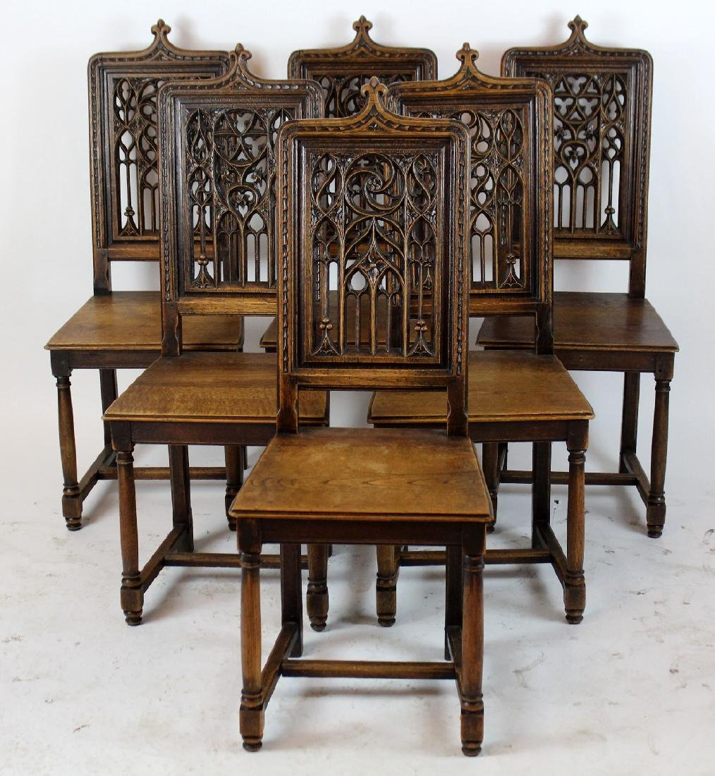 Lot 6 French Gothic chairs with pierce carved back