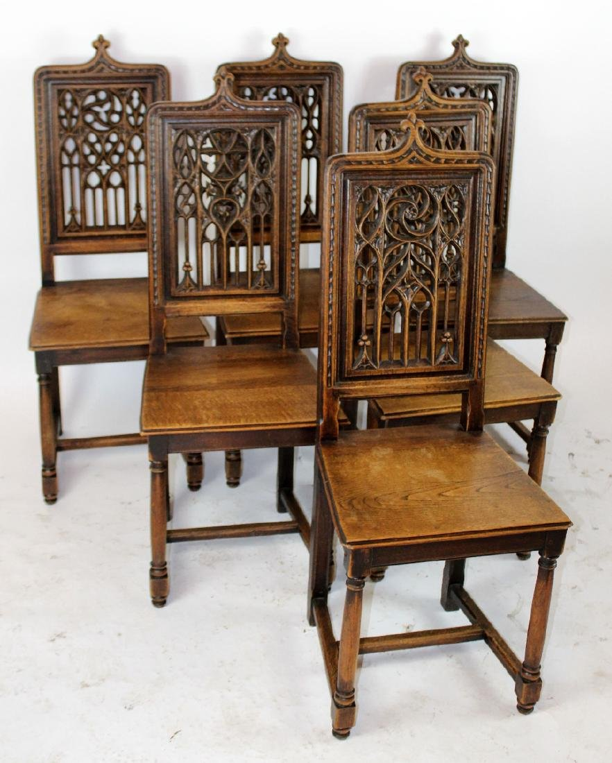 Lot 6 French Gothic chairs with pierce carved back - 2
