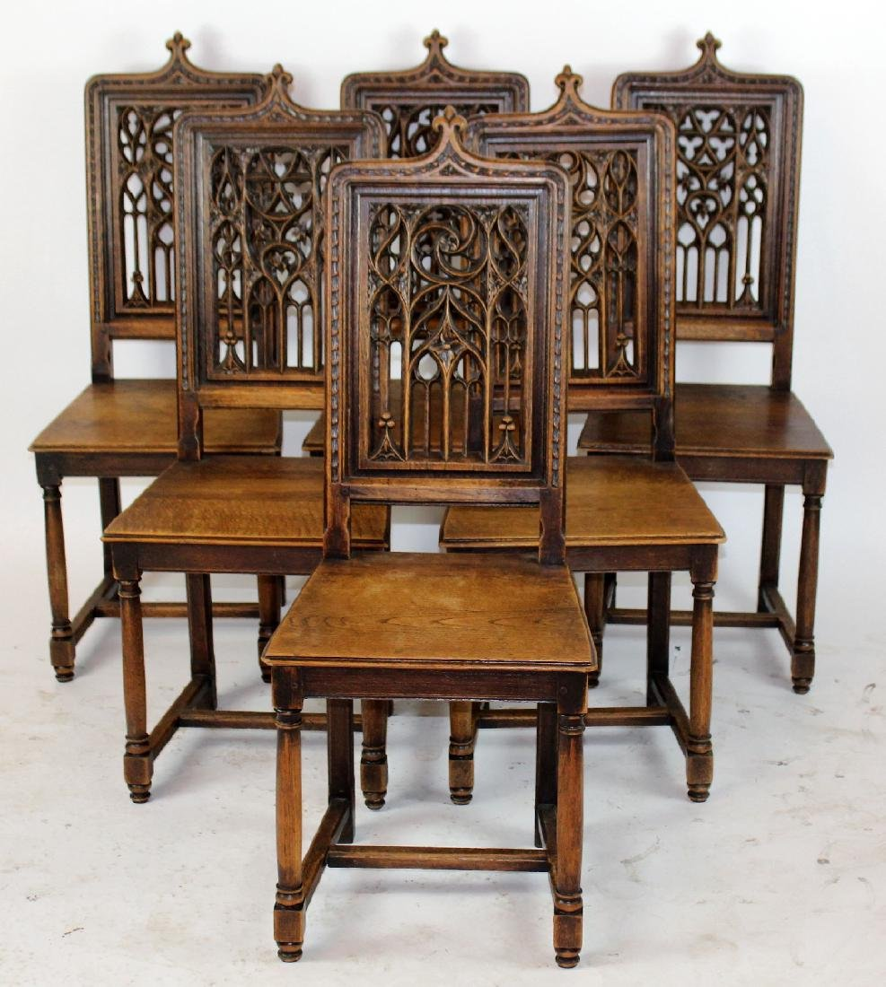 Lot 6 French Gothic chairs with pierce carved back - 3