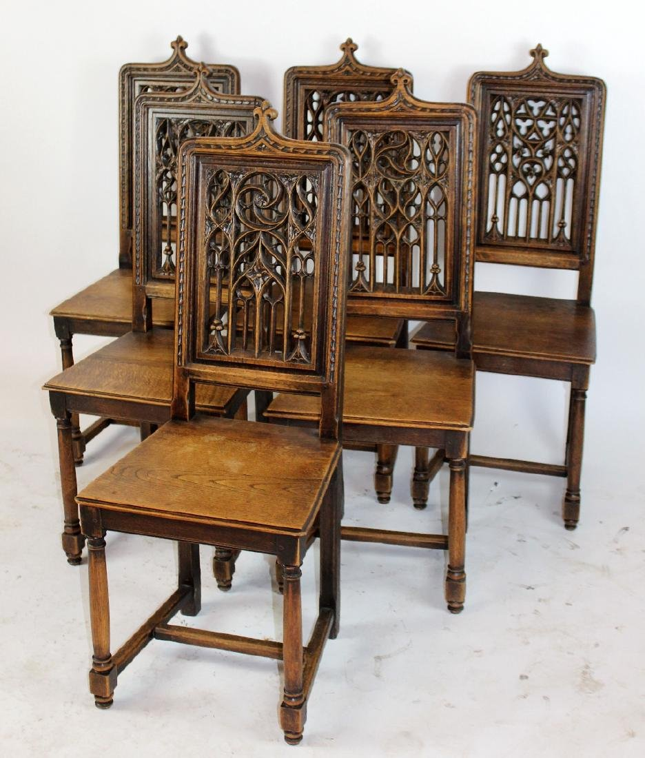 Lot 6 French Gothic chairs with pierce carved back - 4