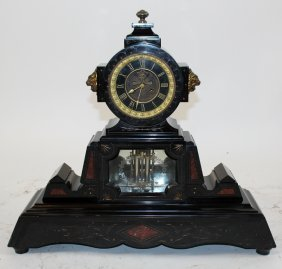 French Napoleon III marble clock Japy Freres