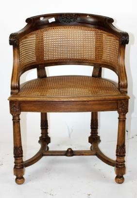 French walnut curved back & cane armchair