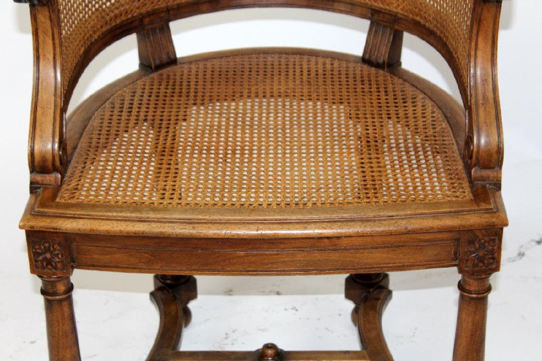 French walnut curved back & cane armchair - 4