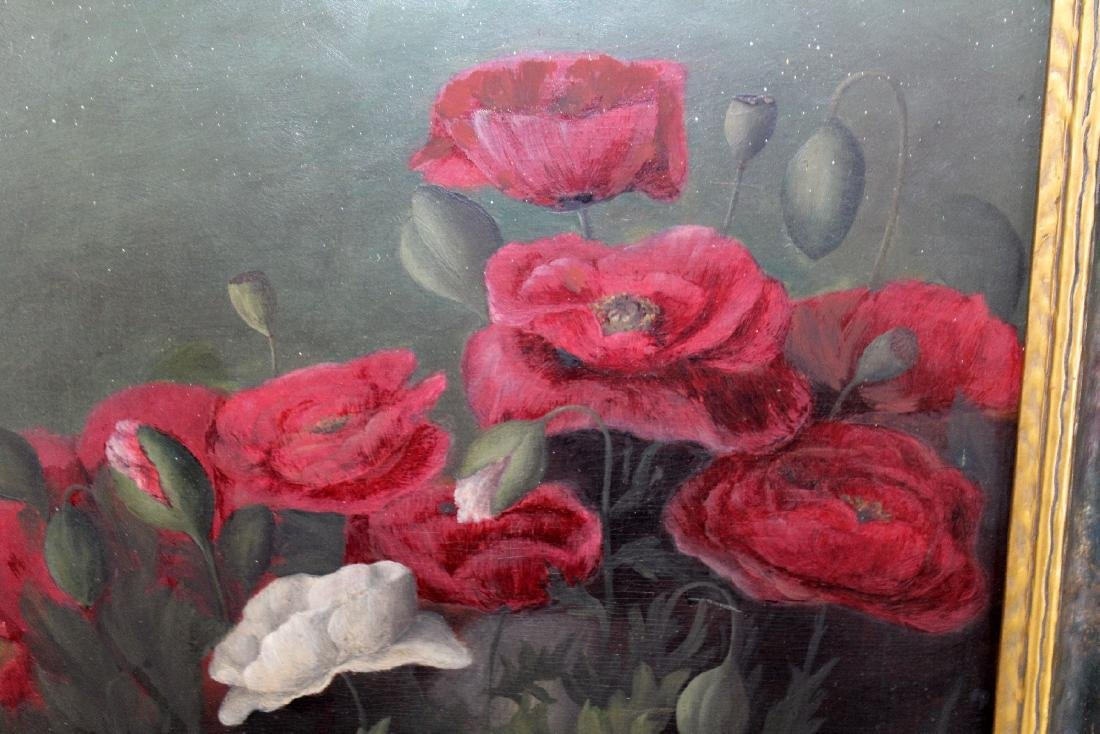 Oil on board still life with poppies - 4