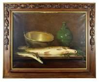 Olivier de Cocquerel oil on canvas still life with fish