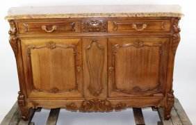 French Louis XV buffet in walnut with marble top