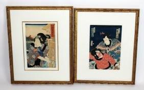 Lot of 2 Japanese wood block prints