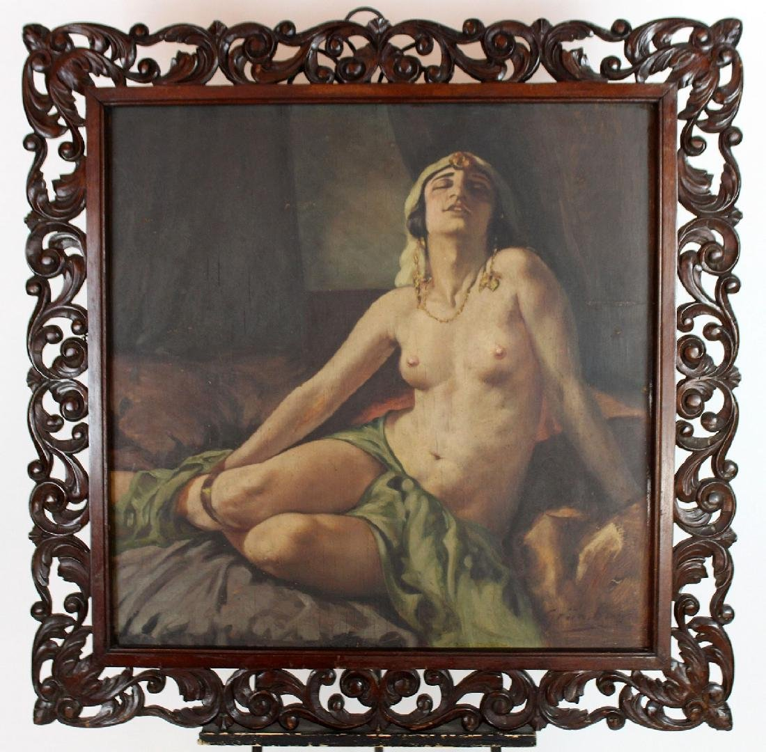 Oil on board seated nude
