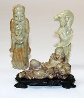 Lot of 3 Chinese carved soapstone figurines