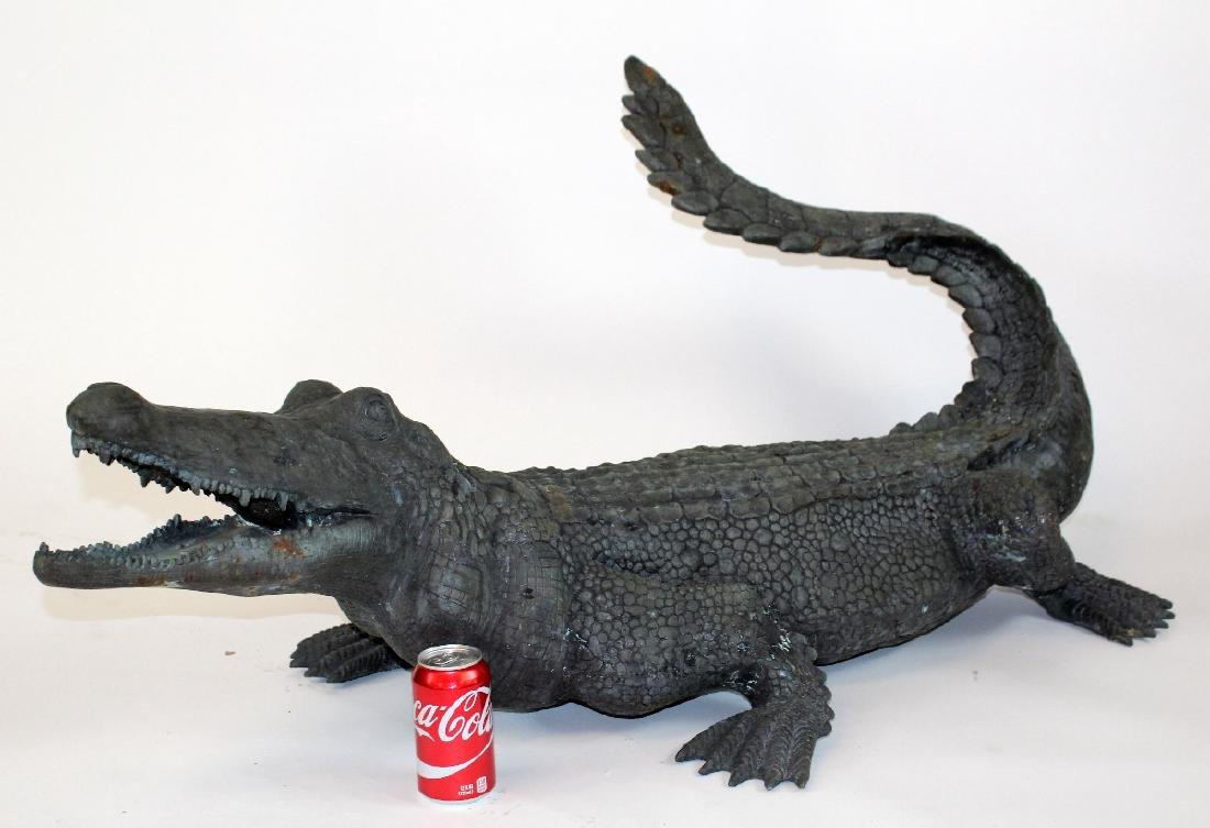 Verdigris bronze alligator statue. - 2