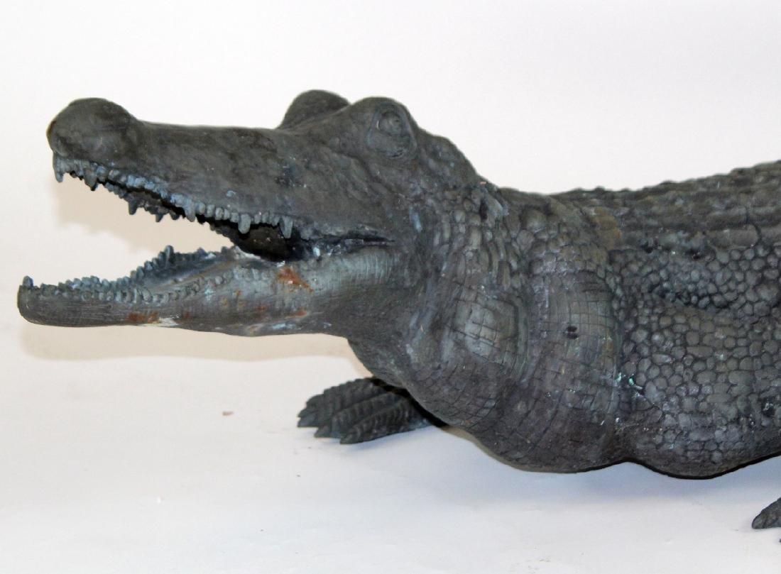 Verdigris bronze alligator statue. - 3