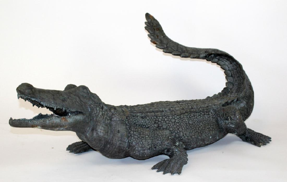 Verdigris bronze alligator statue. - 4