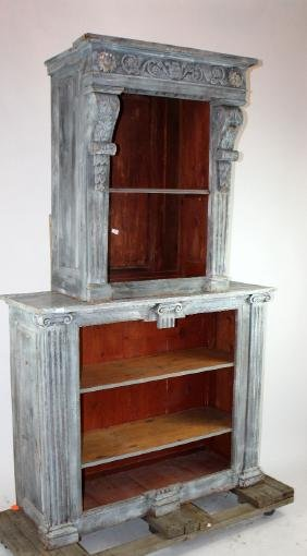 French neo-classical painted open bookcase