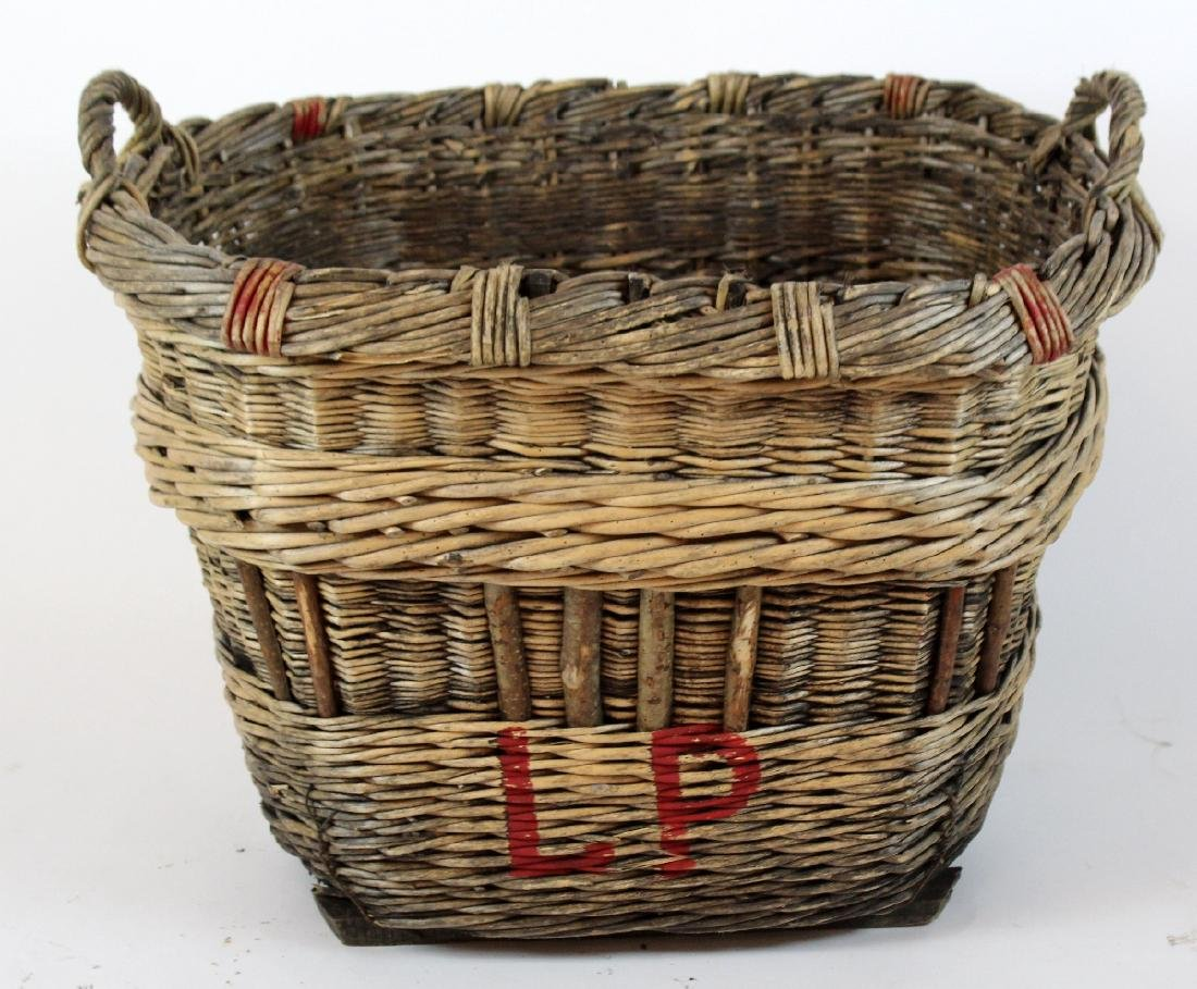 French wicker oval grape harvest basket