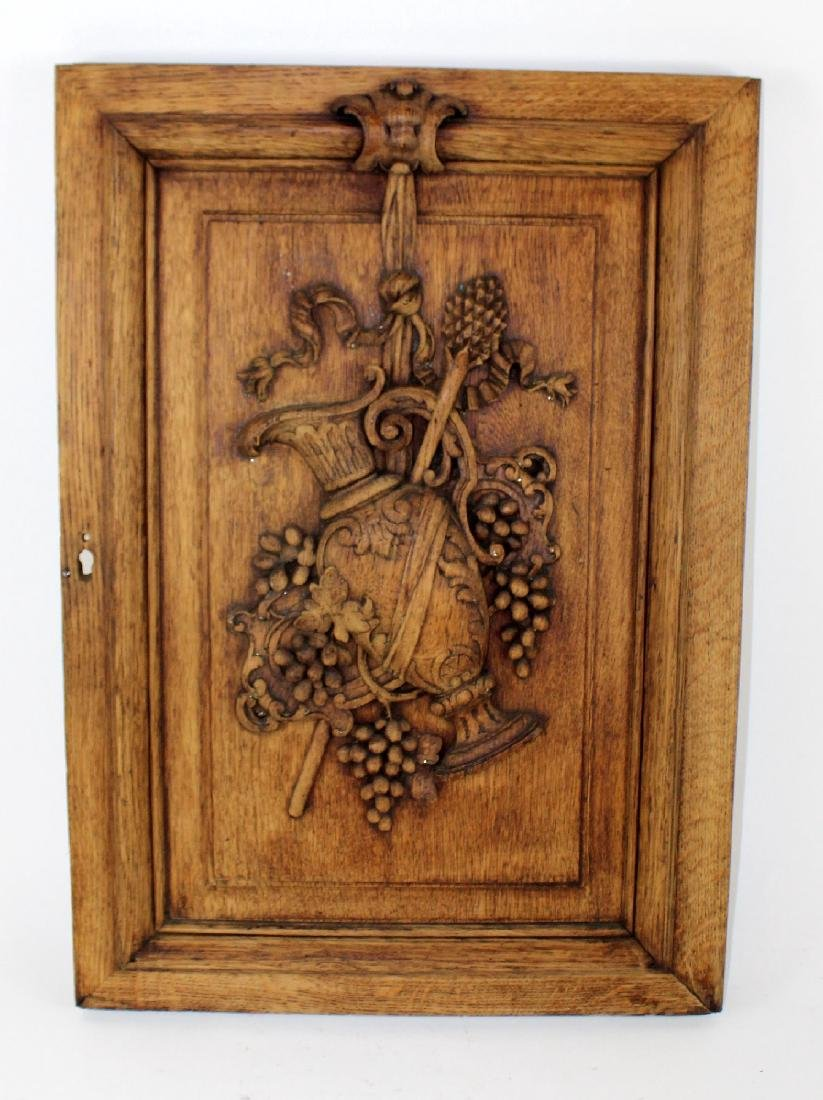 French relief carved oak panel