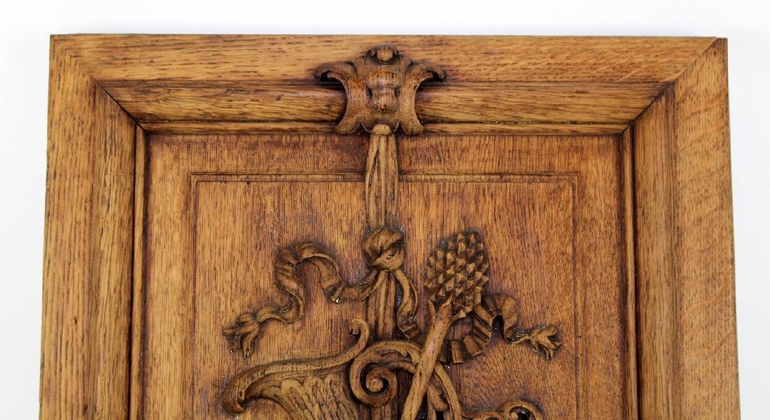 French relief carved oak panel - 4